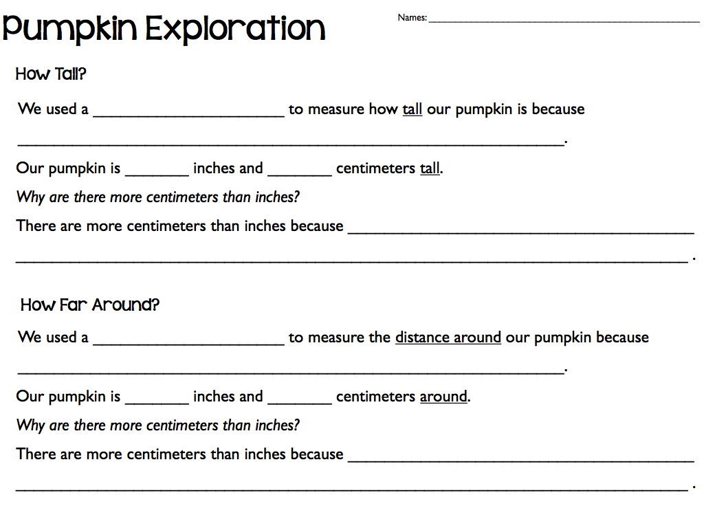 worksheet Measuring In Centimeters Worksheet more measurement activities pumpkin exploration 002