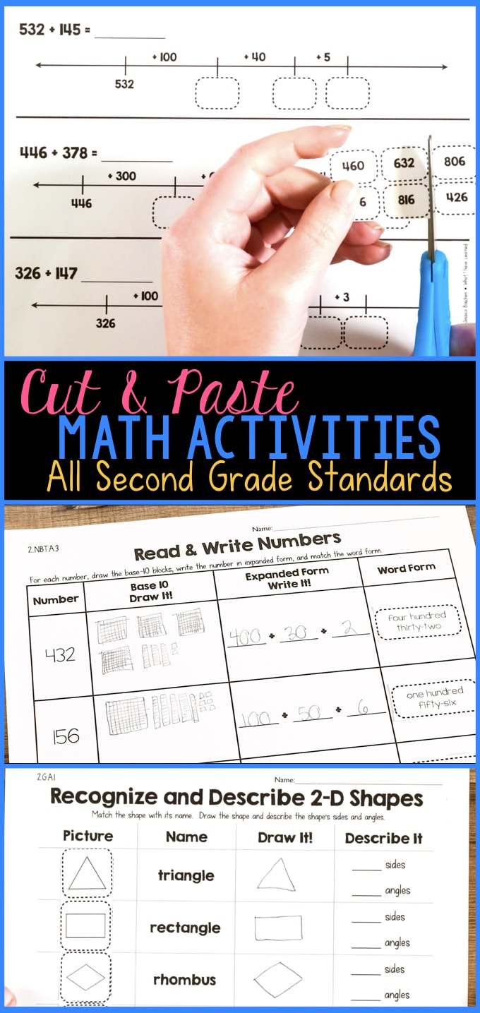 cut paste math activities for every second grade standard