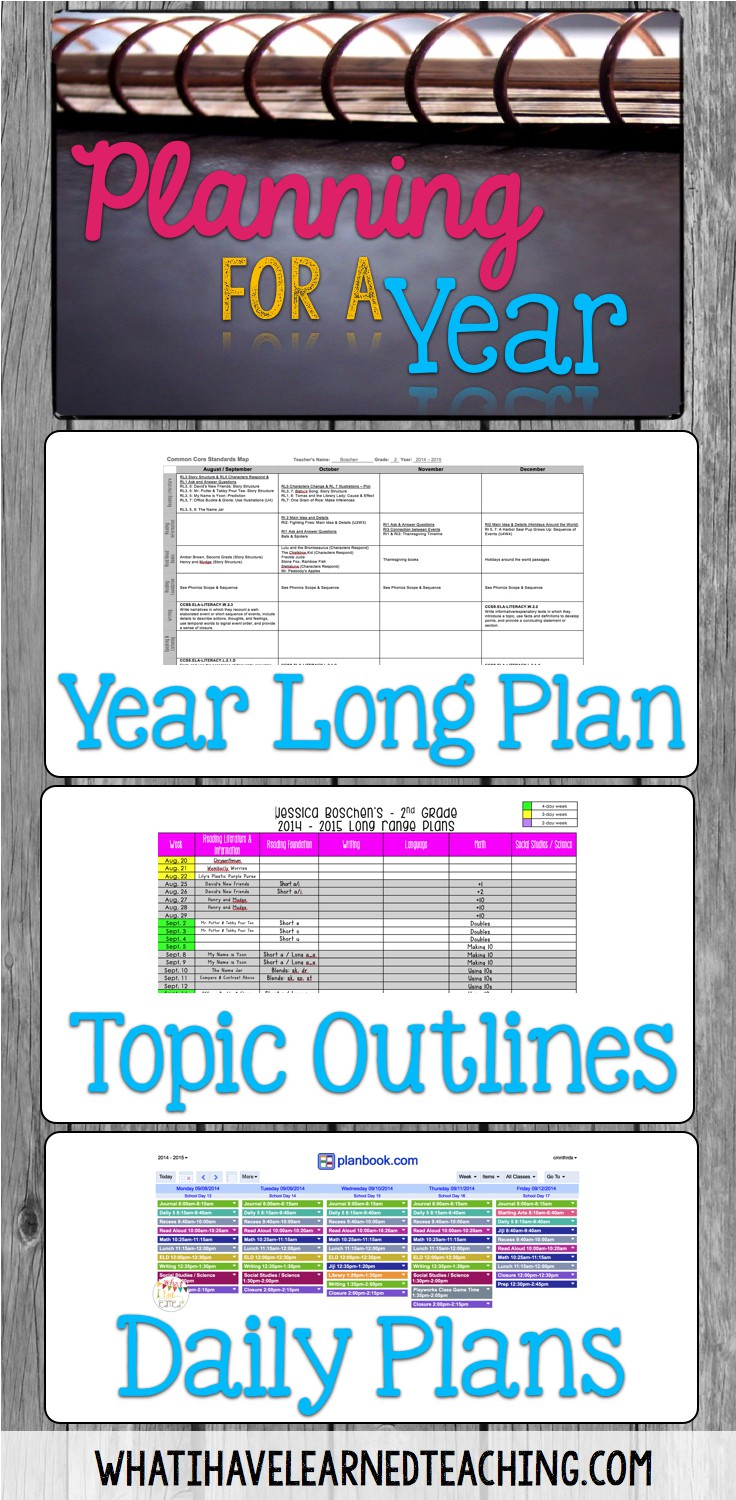 plan for next year organize the year topics daily lessons