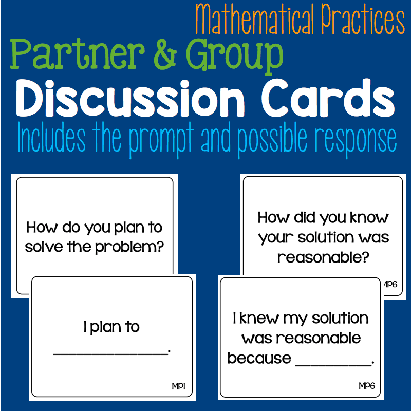 Mathematical Practices Partner & Group Discussion Cards • What I ...