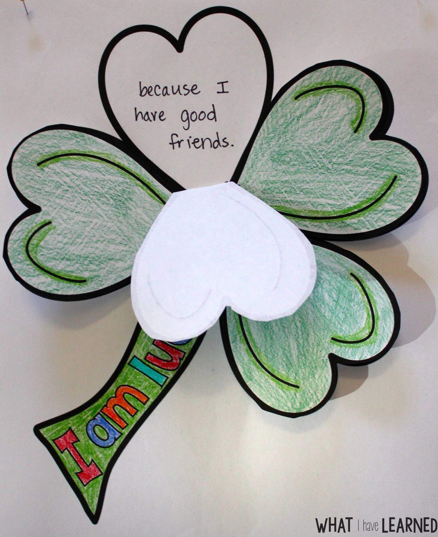 st patrick s day clover i am lucky craftivity what i have