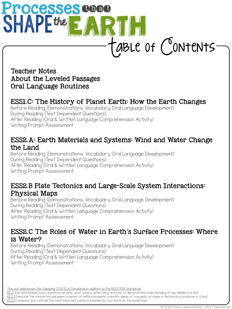 Processes That Shape The Earth Earth S Systems What I