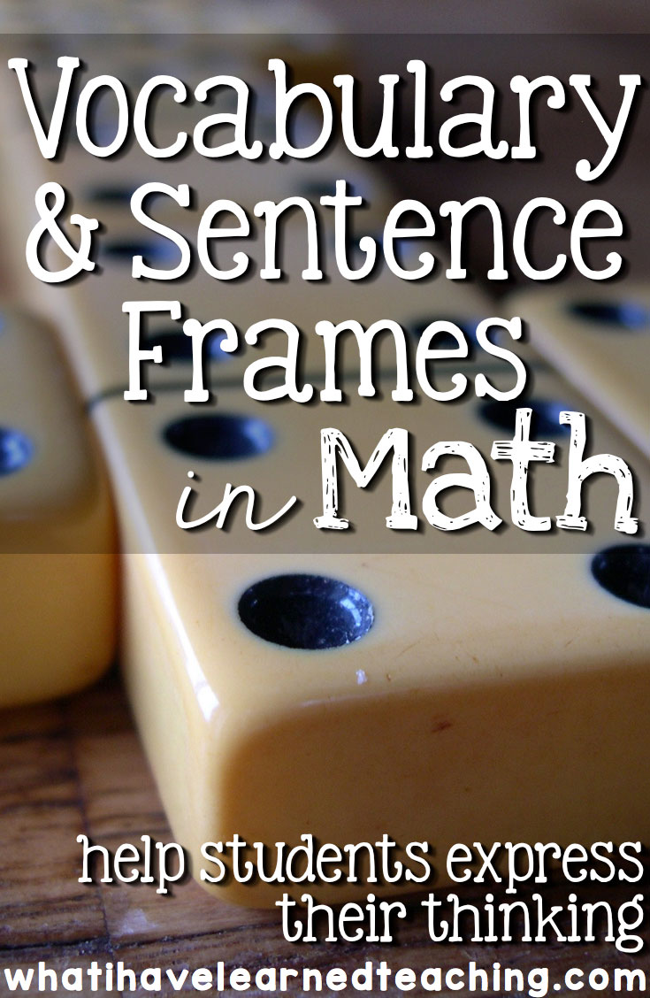 vocabulary and sentence frames in math