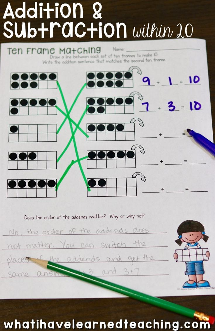 Addition and Subtraction Within 20 Make 10 Add 10 Use 10 to – Ten Frame Worksheets