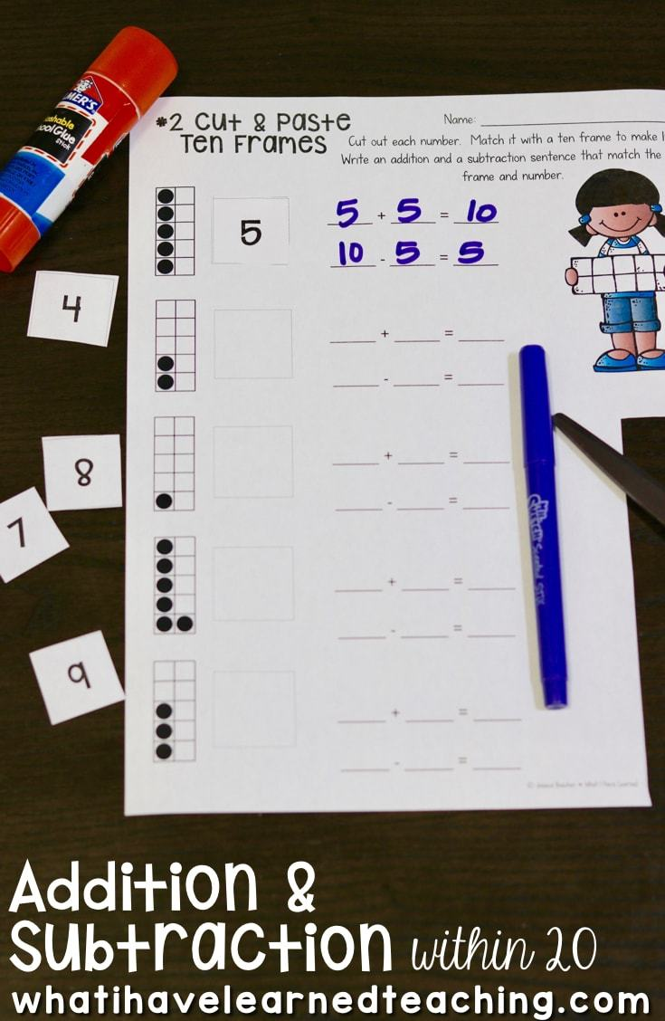 Workbooks ten frame worksheets printables : Addition and Subtraction Within 20 - Make 10, Add 10, Use 10 to ...