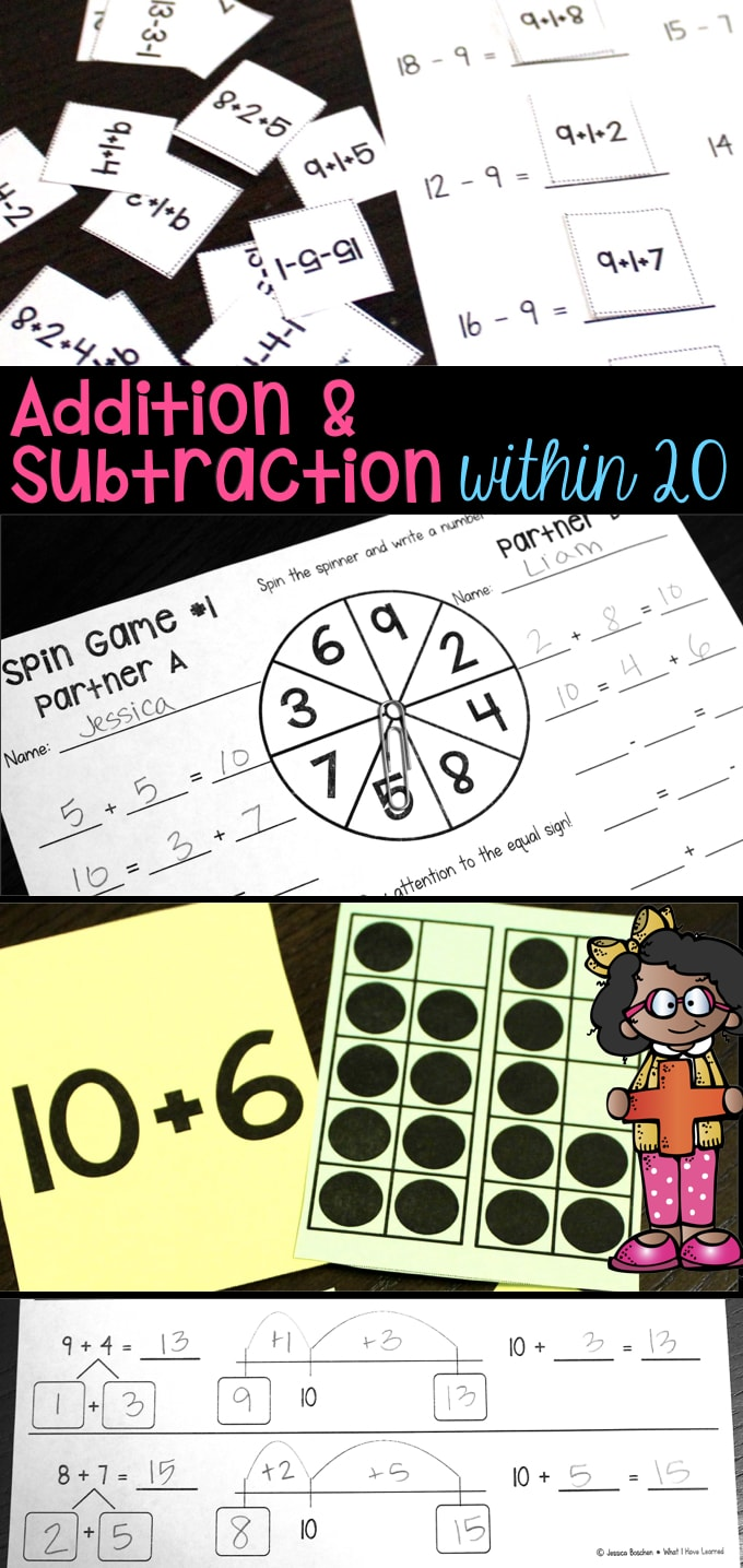 Addition and Subtraction Within 20 - Make 10, Add 10, Use 10 to Add ...