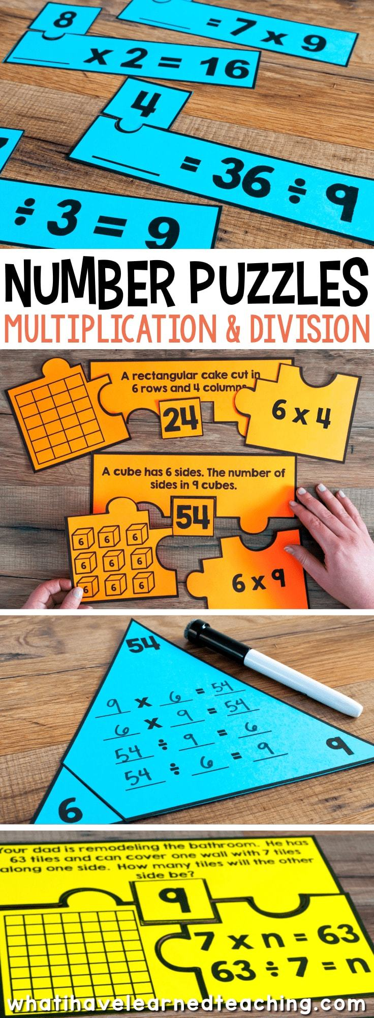 number puzzles for third grade math stations. Black Bedroom Furniture Sets. Home Design Ideas