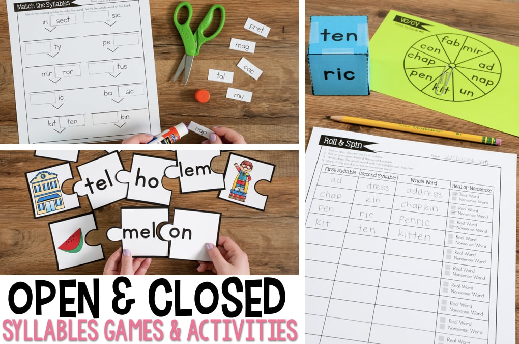 picture relating to Syllable Games Printable identify Open up and Shut Syllables Online games and Things to do