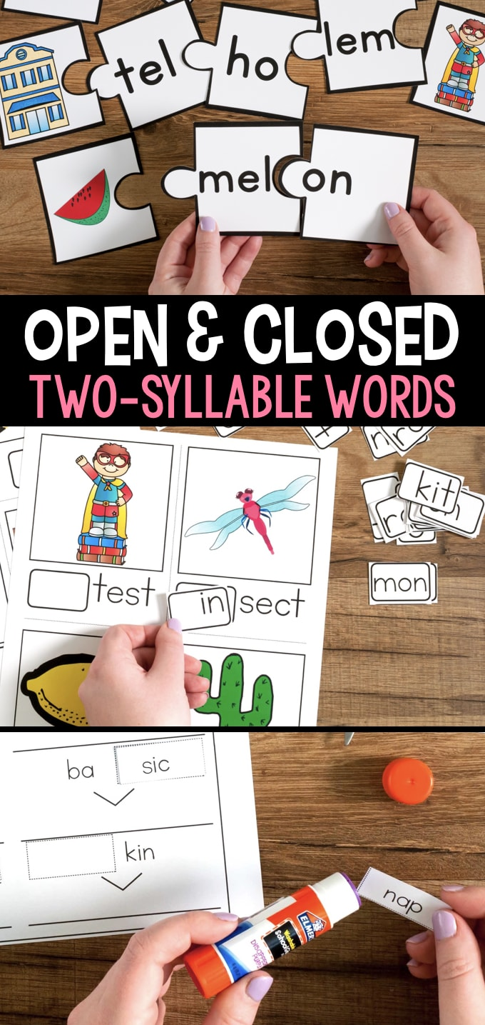 photograph relating to Syllable Games Printable titled Open up and Shut Syllables Game titles and Routines