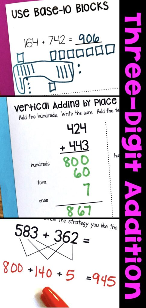 Three-Digit Addition Math Worksheets Using Addition Strategies