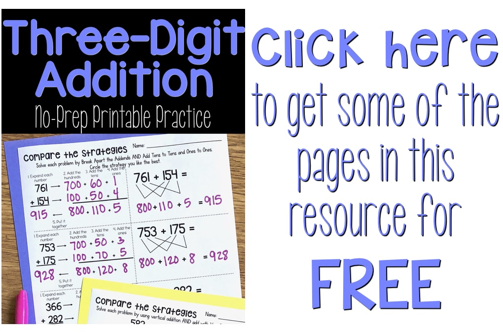 Threedigit Addition Math Worksheets Using Addition Strategies Image To Click To Get Free Threedigit Addition Worksheets
