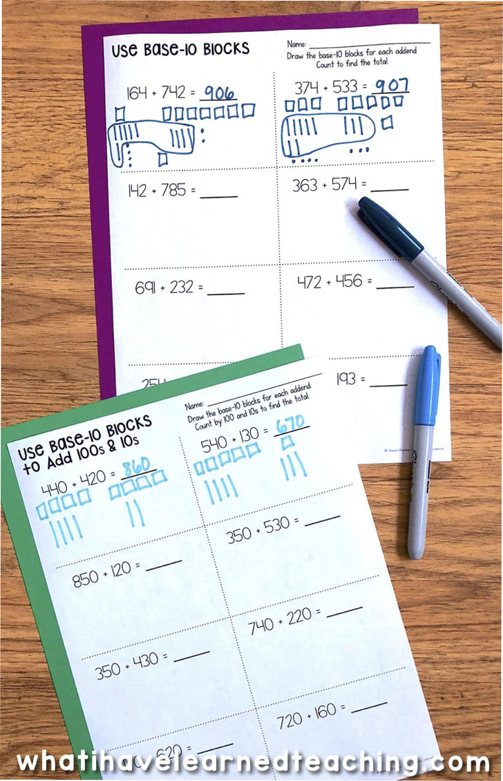 Three Digit Addition Math Worksheets Using Addition Strategies