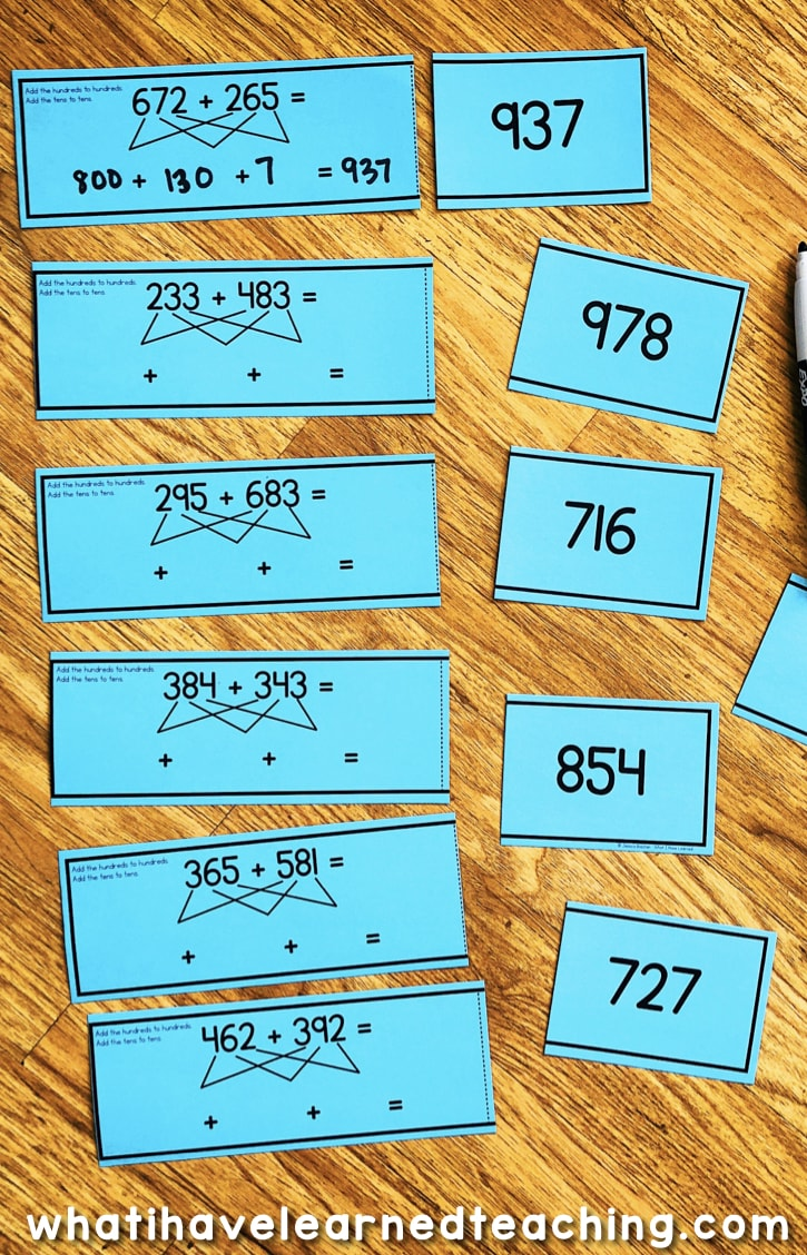 Three-Digit Addition Math Centers & Task Cards