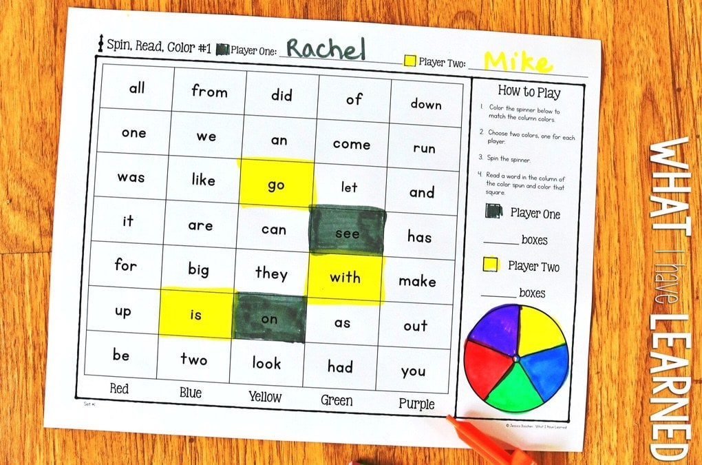 Sight Word Partner Games For High-Frequency Words