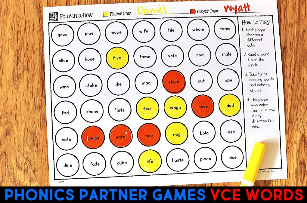 Phonics Partner Games For Vce Words